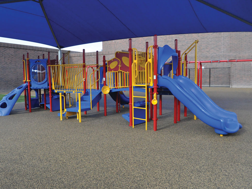 Playground and Swings with poured-in-place rubber surfacing by ARS