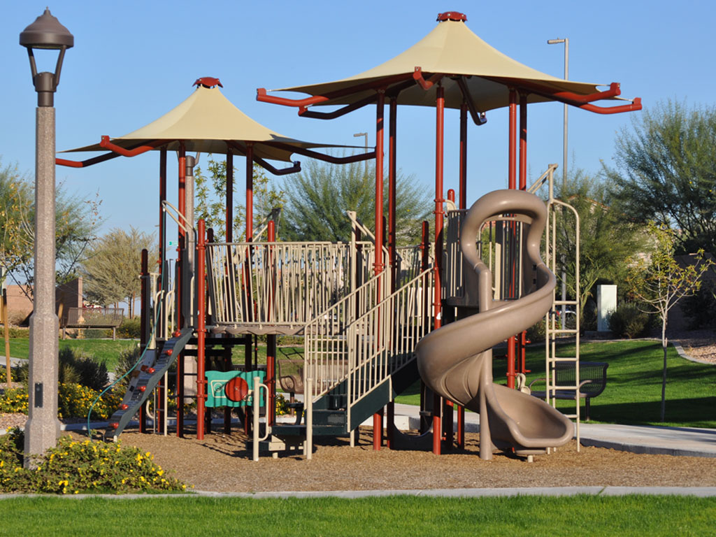 Playground Structure with 2 built-in Canopies