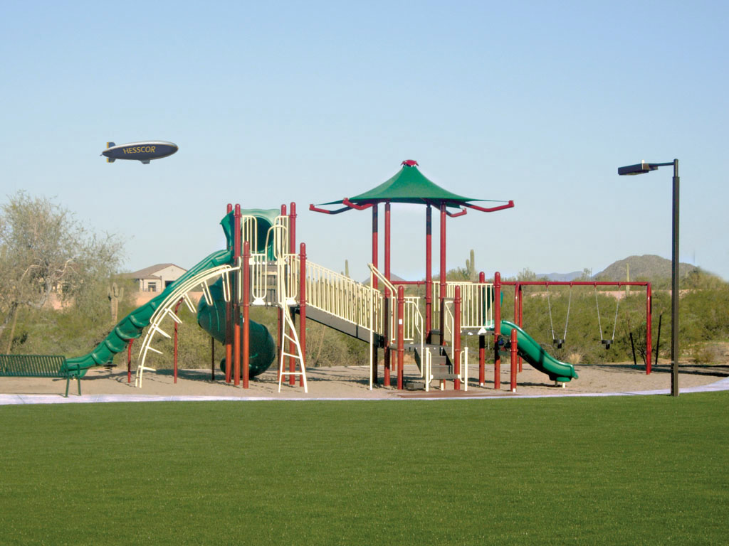 Playground Structure with built-in Canopy, scenic view by Ameri-Grass