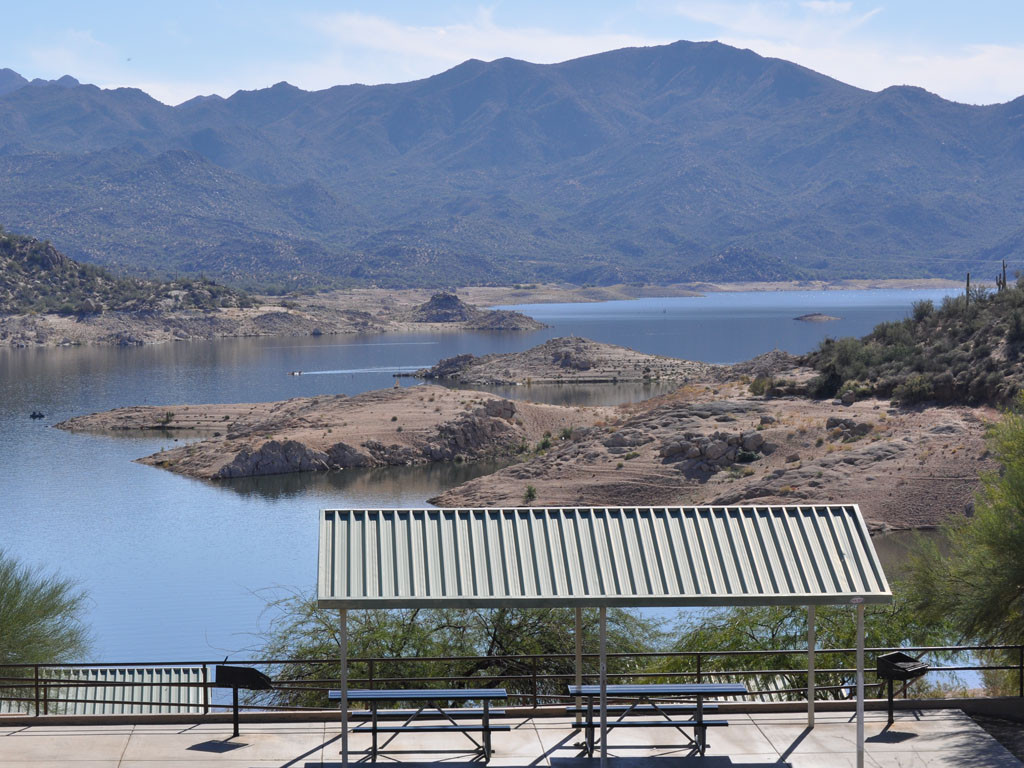 Scenic view of Tables under Ramadas. Bartlett Lake, Arizona