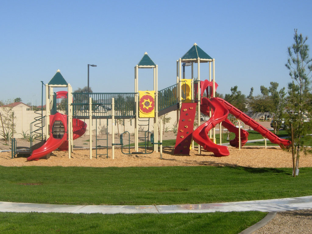 Playground Structure with Wood Fiber Surfacing and Ameri-Grass